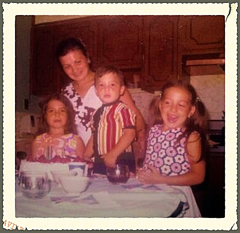 Me  (left) my brother and sis (pigtails) celebrating a birthday with mom's  homemade strawberry shortcake
