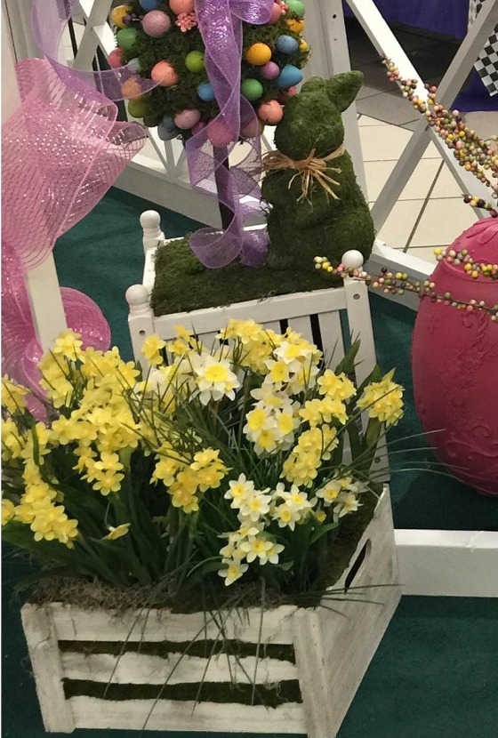 Easter Bunny green with daffodils